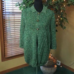 CJ Banks 3 button green heather cardigan. XL